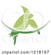 Clipart Of A Green Swimming Sea Turtle And Wave 2 Royalty Free Vector Illustration
