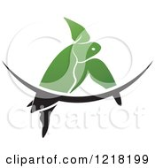 Clipart Of A Green Swimming Sea Turtle And Wave Royalty Free Vector Illustration