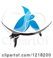 Clipart Of A Blue Swimming Sea Turtle And Wave Royalty Free Vector Illustration