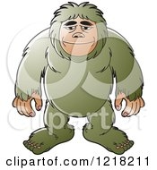Clipart Of A Green Big Foot Royalty Free Vector Illustration