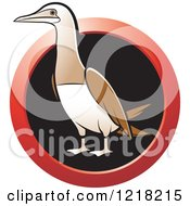 Clipart Of A Bobo Booby Bird With A Red Ring Royalty Free Vector Illustration