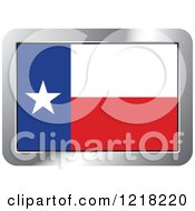 Clipart Of A Texas Flag And Silver Frame Icon Royalty Free Vector Illustration
