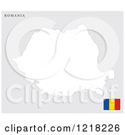 Clipart Of A Romania Map And Flag Royalty Free Vector Illustration