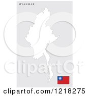 Clipart Of A Myanmar Map And Flag Royalty Free Vector Illustration