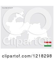 Clipart Of A Tajikistan Map And Flag Royalty Free Vector Illustration