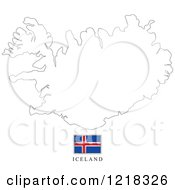 Clipart Of A Iceland Flag And Map Outline Royalty Free Vector Illustration