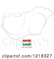 Clipart Of A Hungary Flag And Map Outline Royalty Free Vector Illustration