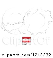 Clipart Of A Austria Flag And Map Outline Royalty Free Vector Illustration
