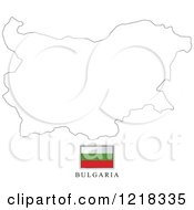 Clipart Of A Bulgaria Flag And Map Outline Royalty Free Vector Illustration