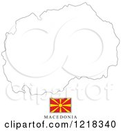 Clipart Of A Macedonia Flag And Map Outline Royalty Free Vector Illustration