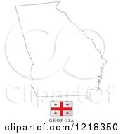 Clipart Of A Georgia Flag And Map Outline Royalty Free Vector Illustration
