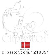 Clipart Of A Denmark Flag And Map Outline Royalty Free Vector Illustration