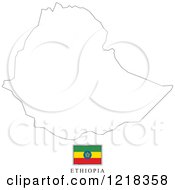 Clipart Of A Ethiopia Flag And Map Outline Royalty Free Vector Illustration
