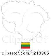 Clipart Of A Lithuania Flag And Map Outline Royalty Free Vector Illustration
