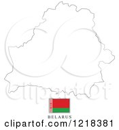 Clipart Of A Belarus Flag And Map Outline Royalty Free Vector Illustration