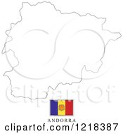 Clipart Of A Andorra Flag And Map Outline Royalty Free Vector Illustration by Lal Perera