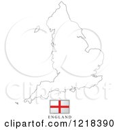 Clipart Of A England Flag And Map Outline Royalty Free Vector Illustration by Lal Perera