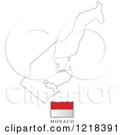 Clipart Of A Monaco Flag And Map Outline Royalty Free Vector Illustration by Lal Perera
