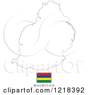 Clipart Of A Mauritius Flag And Map Outline Royalty Free Vector Illustration by Lal Perera