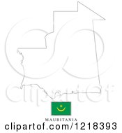 Clipart Of A Mauritania Flag And Map Outline Royalty Free Vector Illustration