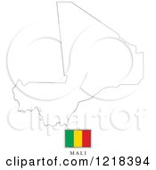 Clipart Of A Mali Flag And Map Outline Royalty Free Vector Illustration by Lal Perera