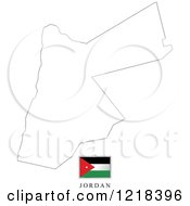 Clipart Of A Jordan Flag And Map Outline Royalty Free Vector Illustration by Lal Perera