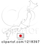 Clipart Of A Japan Flag And Map Outline Royalty Free Vector Illustration by Lal Perera