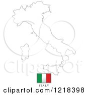 Clipart Of A Italy Flag And Map Outline Royalty Free Vector Illustration