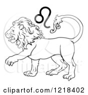 Clipart Of A Black And White Astrology Zodiac Leo Lion And Symbol Royalty Free Vector Illustration