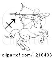 Black And White Astrology Zodiac Sagittarius Centaur And Symbol