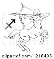 Clipart Of A Black And White Astrology Zodiac Sagittarius Centaur And Symbol Royalty Free Vector Illustration by AtStockIllustration