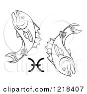 Clipart Of A Black And White Astrology Zodiac Pisces Fish And Symbol Royalty Free Vector Illustration