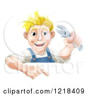 Clipart Of A Happy Mechanic Man Holding A Spanner Wrench And Pointing Down To A Sign Royalty Free Vector Illustration
