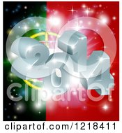 Clipart Of A 3d 2014 And Fireworks Over A Portugal Flag Royalty Free Vector Illustration