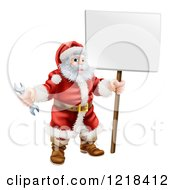 Clipart Of Santa Holding A Spanner Wrench And Sign 2 Royalty Free Vector Illustration