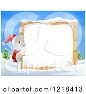 Clipart Of Santa Claus Pointing To A Christmsa Sign In The Snow Royalty Free Vector Illustration