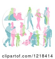 Clipart Of A Green Blue And Pink Silhouetted Families Royalty Free Vector Illustration