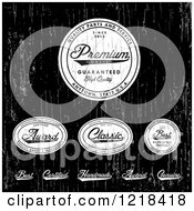 Clipart Of Distressed White Quality Labels On Black Royalty Free Vector Illustration