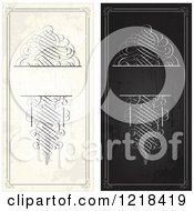 Clipart Of Distressed Vertical Black And Beige Swirl Wedding Invitations Royalty Free Vector Illustration