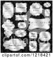 Clipart Of Silver Wedding Labels With Sample Text Over Black Damask Royalty Free Vector Illustration by BestVector