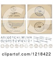 Clipart Of A Postal Stamps And Your Company Is Requested Postmarks With Sample Text Royalty Free Vector Illustration by BestVector
