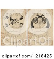 Clipart Of Vintage Distressed Invitations With A Skull And Crossbones And Revolvers Royalty Free Vector Illustration