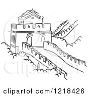 Clipart Of A Black And White Sketch Of The Great Wall Of China Royalty Free Vector Illustration