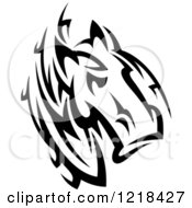 Clipart Of A Black And White Tribal Horse 3 Royalty Free Vector Illustration