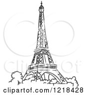Clipart Of A Black And White Sketched Eiffel Tower 2 Royalty Free Vector Illustration