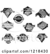 Clipart Of Black And White Quality Labels With Sample Text Royalty Free Vector Illustration