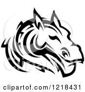 Clipart Of A Black And White Tribal Horse 4 Royalty Free Vector Illustration