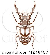 Clipart Of A Brown And White Beetle Royalty Free Vector Illustration by Vector Tradition SM