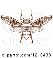 Clipart Of A Brown And White Bee Royalty Free Vector Illustration by Vector Tradition SM