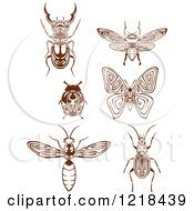 Clipart Of Brown And White Insects Royalty Free Vector Illustration by Vector Tradition SM